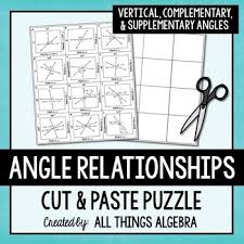 angle relationships vertical complementary u0026 supplementary puzzle