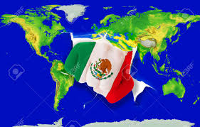 fist in color national flag of mexico punching world map as symbol