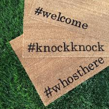 knockknock hand painted customizable funny doormat