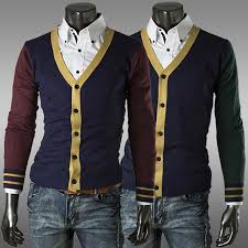 mens cardigan sweater selling s fashion style splicing cardigan sweater slim