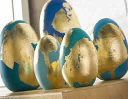 faux easter eggs gold leaf and painted easter eggs diycandy