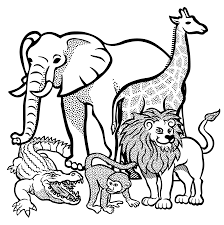 clipart african animals lineart