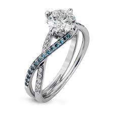 Blue Diamond Wedding Rings by 18k White Gold Twisted Shank Engagement Ring Set Fabled Collection