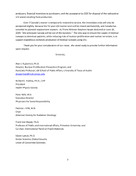 npec letter to congress on medical isotopes