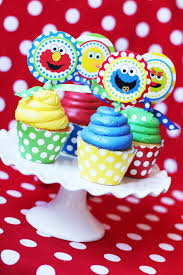 sesame birthday sesame birthday party sesame cupcake toppers