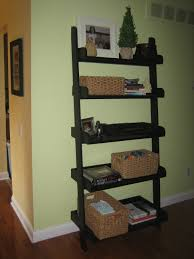 Natural Oak Leaning Shelves With Furniture Fascinating Interior Using Leaning Ladder Shelves For