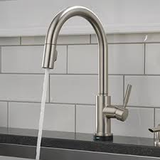 delta touch2o kitchen faucet shop delta trask touch2o spotshield stainless 1 handle deck mount