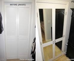 Mirror Bifold Closet Door Remodelaholic 40 Ways To Update Flat Doors And Bifold Doors