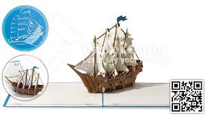 the ship 3d pop up cards 3d boat kirigami card view