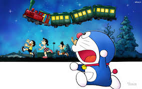 wallpaper doraemon the movie doraemon and other cartoon character reach to flying train