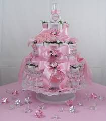 3 tier pink baby bottle diaper cakes pdc