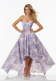 floral printed lace prom dress with hi low hemline style 99027