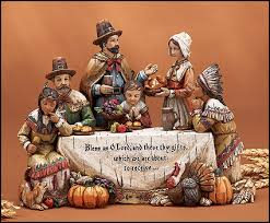woodgrain thanksgiving dinner figurine