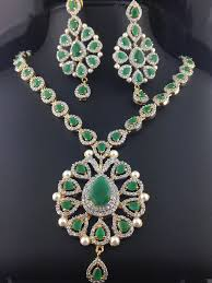 emerald necklace sets images American diamond emerald necklace set indian kundan islamic jpg