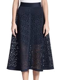 lyst dkny laser cut flared skirt in blue