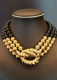 gold black bead necklace images Givenchy gold knot gold black bead collar choker necklace catawiki jpg