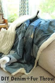 Faux Fur Throw Blanket Diy Denim And Faux Fur Throw Blanket U2013 Chic U0026 Cozy For Fall