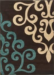 Modern Damask Rug Rug Modern Damask Brown Teal Blue 160x230cm Brown Teal