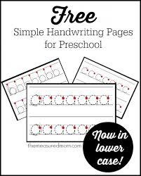 simple handwriting pages for preschool now in lowercase the