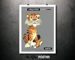 singapore tiger qantas vintage travel poster wanderlust travel