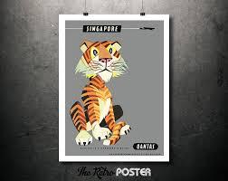 Travel Decor by Singapore Tiger Qantas Vintage Travel Poster Wanderlust Travel
