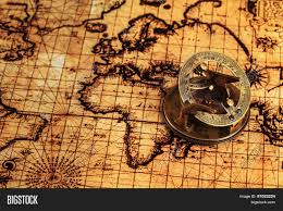 Ancient World Map by Travel Geography Navigation Concept Background Old Vintage Retro
