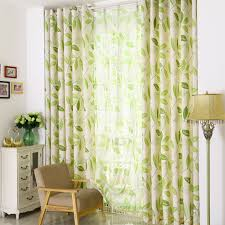 Insulated Window Curtains Green Leaf Print Polyester Insulated Country Window Curtains