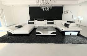 Designer Leather Sofa by Big Leather Sofa Enzo With Led Lights White Black Ebay