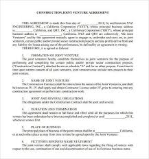 joint venture contract template free sample joint venture 9 free