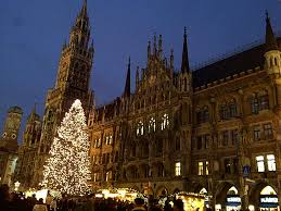 the munich city hall with its enormous christmas tree munich
