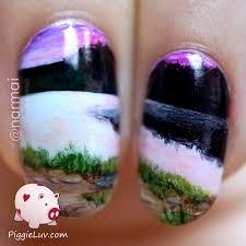 piggieluv wide open landscape nail art miniature painting