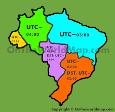 Map Of World Time Zones Brazil Time Zone Map