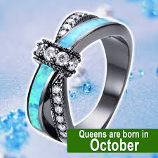 opal october october blue opal black gold filled ring birthstone deals
