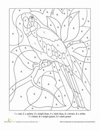 color number parrot worksheet education