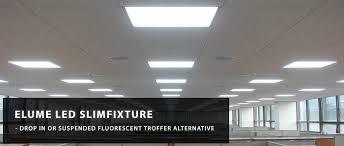 Lay In Light Fixtures Elume Slimfixture Troffer Led Panel Light