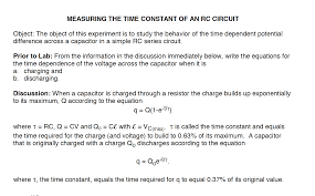 image for measuring the time constant of an rc circuit object the object of this