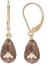 smoky quartz earrings don t miss this deal on 14k gold smoky quartz briolette drop