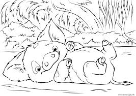 pua pet pig from moana disney coloring pages printable