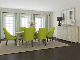 green padded dining room chairs mixed white wooden sideboard