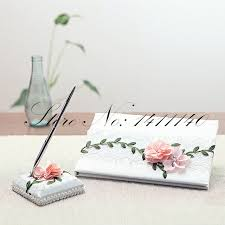 wedding guest book and pen set garden flower theme satin vintage lace design wedding guest