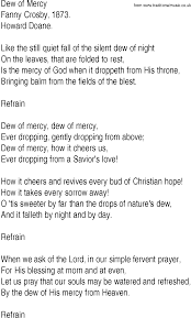 hymn and gospel song lyrics for dew of mercy by crosby