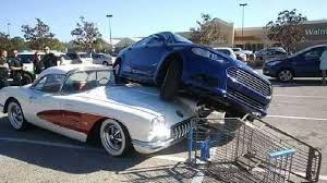 corvette car crash 1959 corvette damaged in walmart parking lot after car parks on it