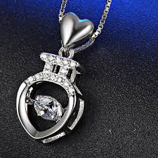 luxury silver necklace images Luxury silver heart necklace with cz zircon missty silver jewelry jpg