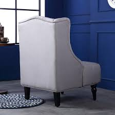 belleze modern wingback tufted nailhead accent chair linen tall