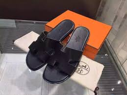 hermes izmir casual mens sandal calfskin original leather black