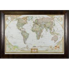 World Map Prints by Wayfarer Executive World Push Pin Travel Map Craig Frames