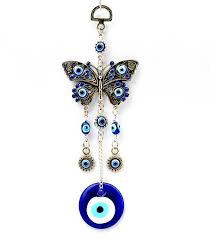 blue evil eye with butterfly hanging decoration