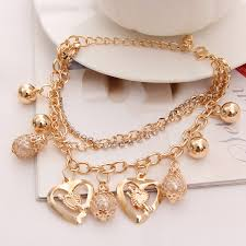 gold multi chain bracelet images Hesiod fashion jewelry heart pendant multi layer gold color chain jpg