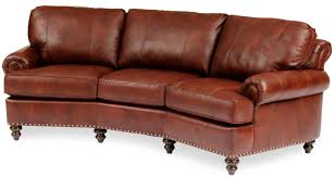 Curved Conversation Sofa by Leather Conversational Sofa With Nailhead Trim By Smith Brothers
