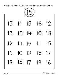 number 15 writing counting and identification printable free